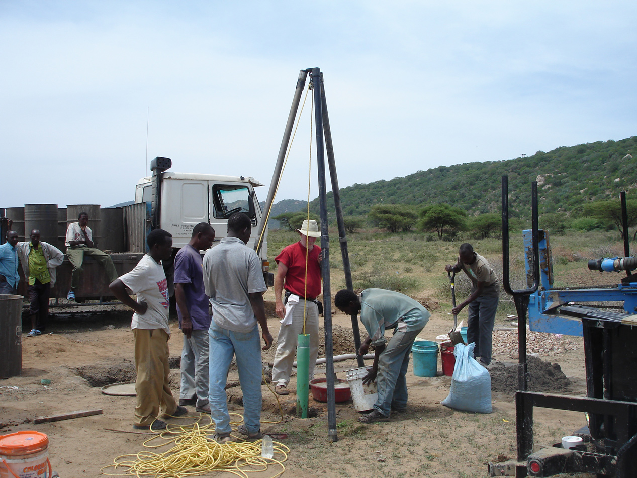 Process of sealing water well to protect it from surface water contamination.