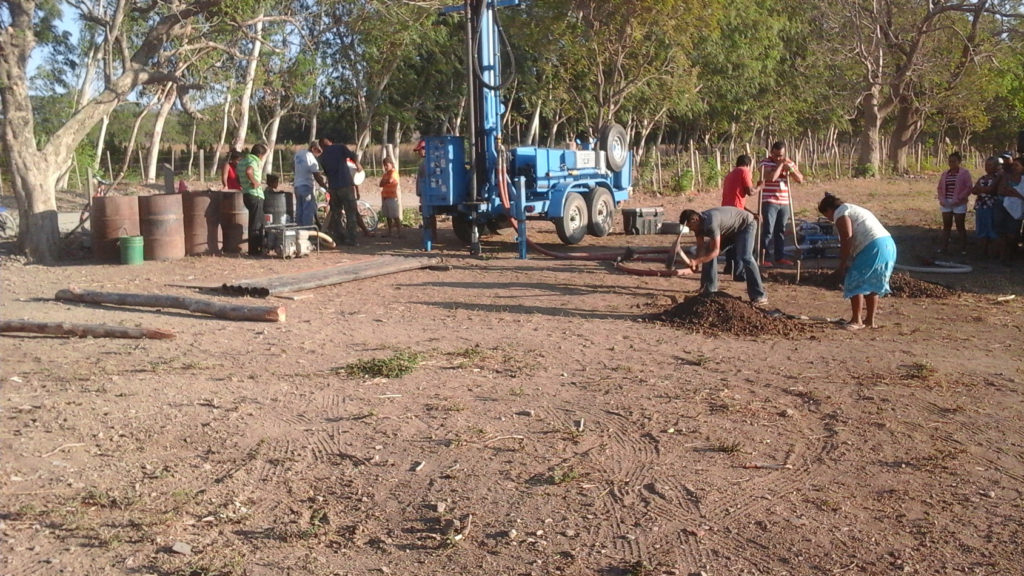 Water well drill setup